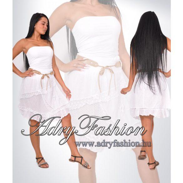 Fehér női szoknya öv dísszel