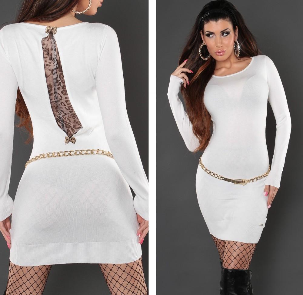 0d9206c702 Hátán párduc mintás kötött női tunika - fehér - AdryFashion női ruha ...
