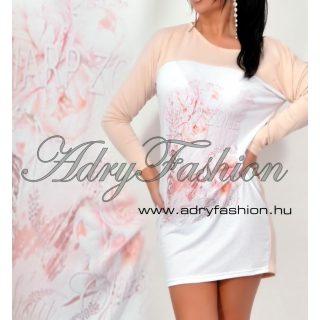 Warp Zone bézs virág mintás laza bő női ruha  tunika