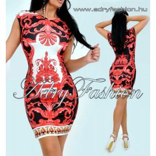 Piros fehér Virág mintás ujjatlan  női ruha