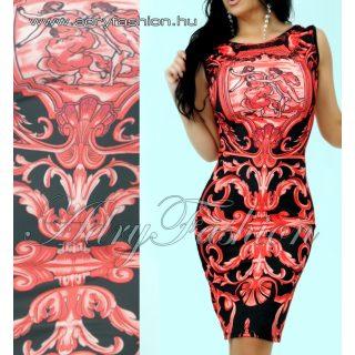 Piros - fekete Virág mintás női ruha