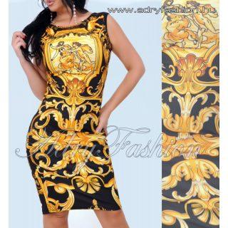 Sárga fekete színű  elegáns Virág mintás ruha