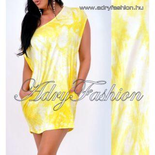 Sárga Batikolt lenge zsebes női ruha tunika