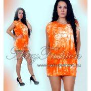 Batikolt lenge női ruha/tunika  zsebbel narancs
