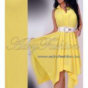 Sárga színű  lenge Ujjatlan mell alatt húzott női ruha sárga - öv nélkül