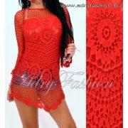 Horgolt csipke díszes női felső és trikó piros