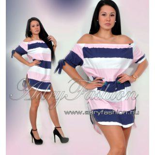 púder-kék-fehér Vállra húzható csíkos női ruha/tunika