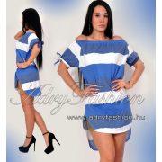 fehér-kék  Vállra húzható csíkos női ruha/tunika fehér-kék