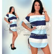 fehér-türkiz-kék Vállra húzható csíkos női ruha/tunika