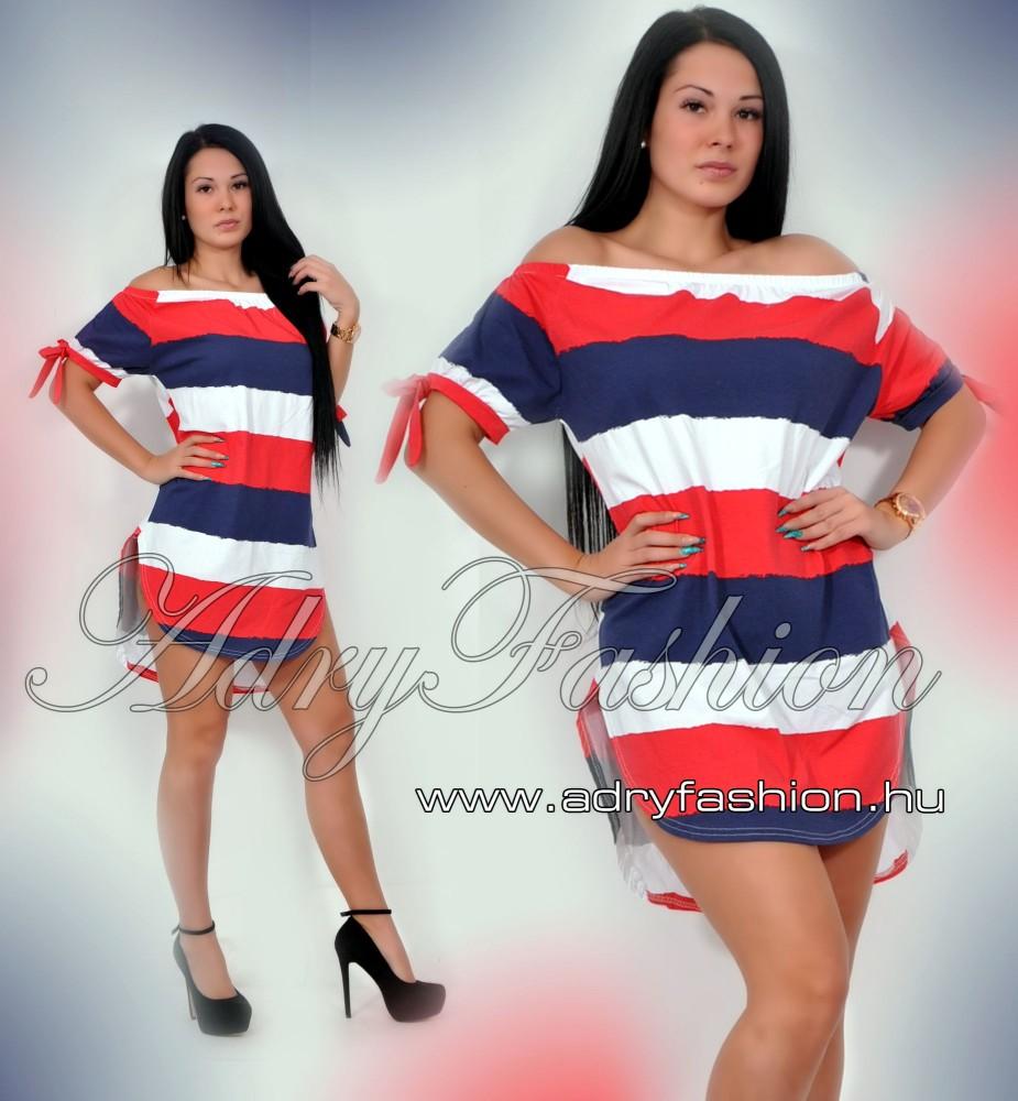 49c5b19b70 fehér-piros-kék Vállra húzható csíkos női ruha/tunika - AdryFashion ...