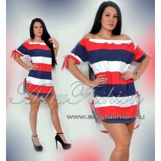fehér-piros-kék Vállra húzható csíkos női ruha/tunika