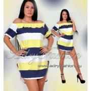 sárga-kék-fehér Vállra húzható csíkos női ruha/tunika
