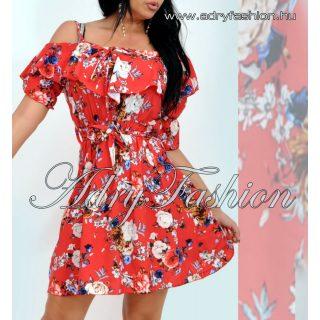 Derekán megkötős virág mintás női ruha piros színű