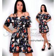 Spagetti pántos derekán megkötős virág mintás női ruha sötétkék