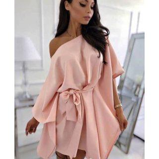Mályva rózsaszín lepel ruha derekán megkötős