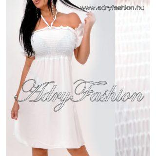 Fehér lenge Mellénél gumírozott női ruha