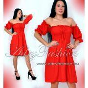 Mellénél gumírozott női ruha piros