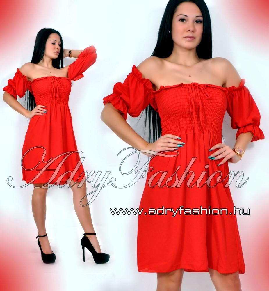 d8a8ec6d4a Mellénél gumírozott női ruha piros - AdryFashion női ruha webáruház ...