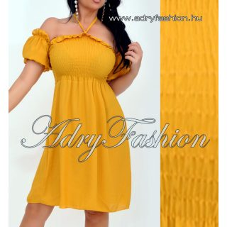 Elegáns muszlin Mellénél gumírozott női ruha mustársárga