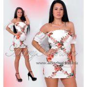 a80f652ef2 Virág mintás elől átlapolt derekán megkötős női ruha fehér ...