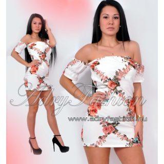 Vállra húzható virágmintás női ruha/tunika fehér
