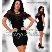 Missq fekete ruha - Taylor női ruha muszlin díszes