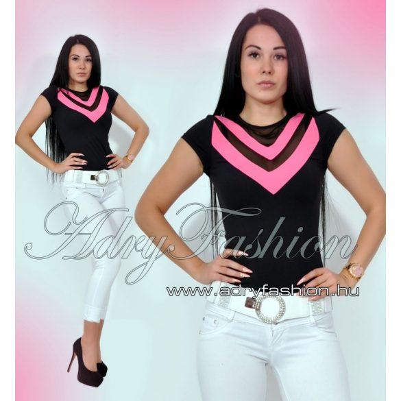 18fb434ed4 RENSIX muszlin betétes fekete pink felső - AdryFashion női ruha webáruház,  Ruha webshop, Amnesia, NedyN, Rensix , Egyedi ruha