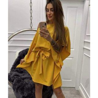 Mustár sárga színű lenge lepel ruha derekán megkötős