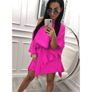 Pink  színű elegáns lepel ruha derekán megkötős