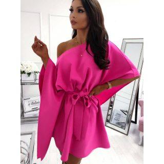 Pink színű elegáns lenge lepel ruha derekán megkötős