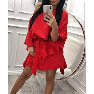 Piros színű lepel ruha derekán megkötős