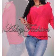 Pink vállán masnis kötött pulcsi
