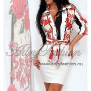 Fehér fekete rózsás szatén női ing blúz