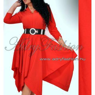 Piros színű lenge gumis derekú női ing ruha - öv nélkül