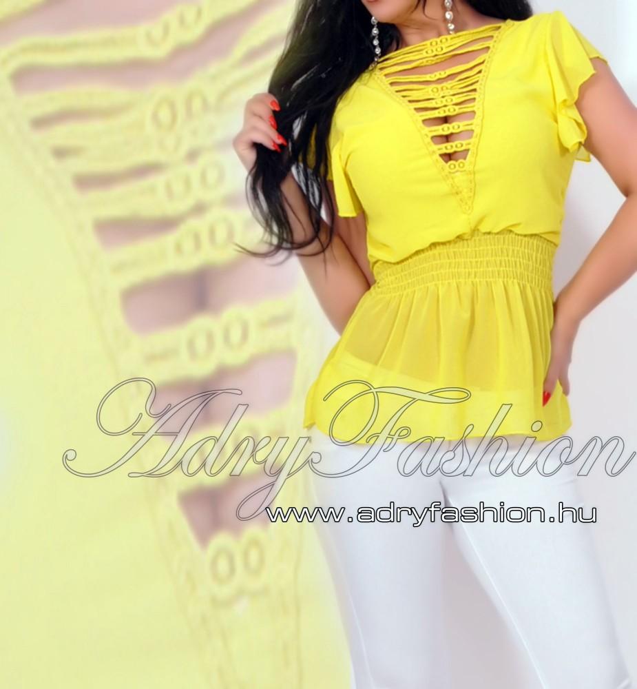2808f70c7f Nyitott vállán fodros női muszlin felső sárga - AdryFashion női ruha ...