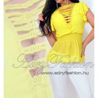Nyitott vállán fodros női muszlin felső sárga