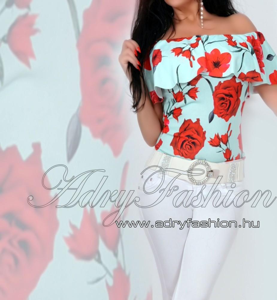 30c0c8e401 Menta zöld Vállra húzható virág mintás női body - AdryFashion női ...