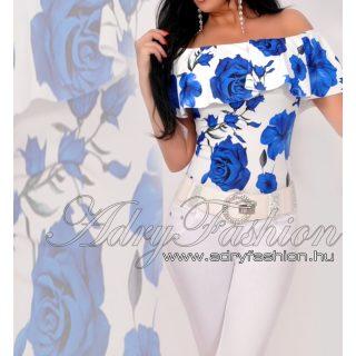 Virágos Vállra húzható virág mintás női body fehér - kék