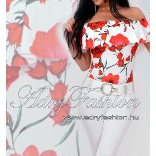 Virágos Vállra húzható virág mintás női body fehér-piros
