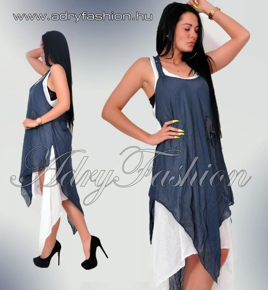 6357c44972 KÉK Hátán csipke díszess lenge 2in1 női ruha kék-fehér - AdryFashion ...