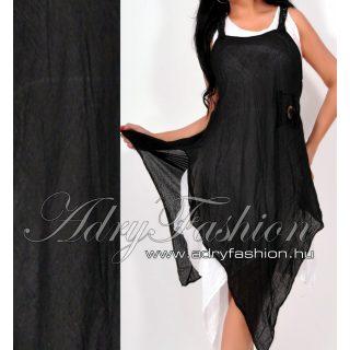 Hátán csipke díszes lenge női ruha fekete fehér kettő az egyben