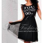 Tüll díszes derekán megkötős női ruha fekete