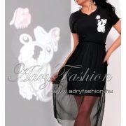 Francia bulldogos tüll díszes női ruha fekete