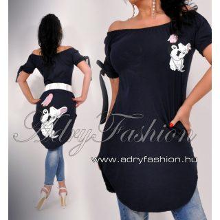 Francia bulldogos vállra húzható női ruha/tunika sötétkék - öv nélkül