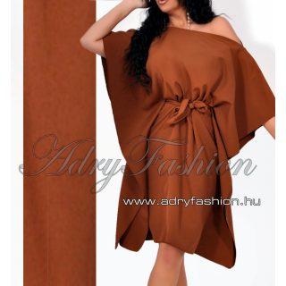 Csokibarna lepel ruha derekán megkötős