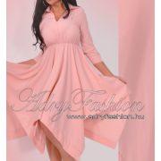 Púder színű lenge gumis derekú női ing ruha