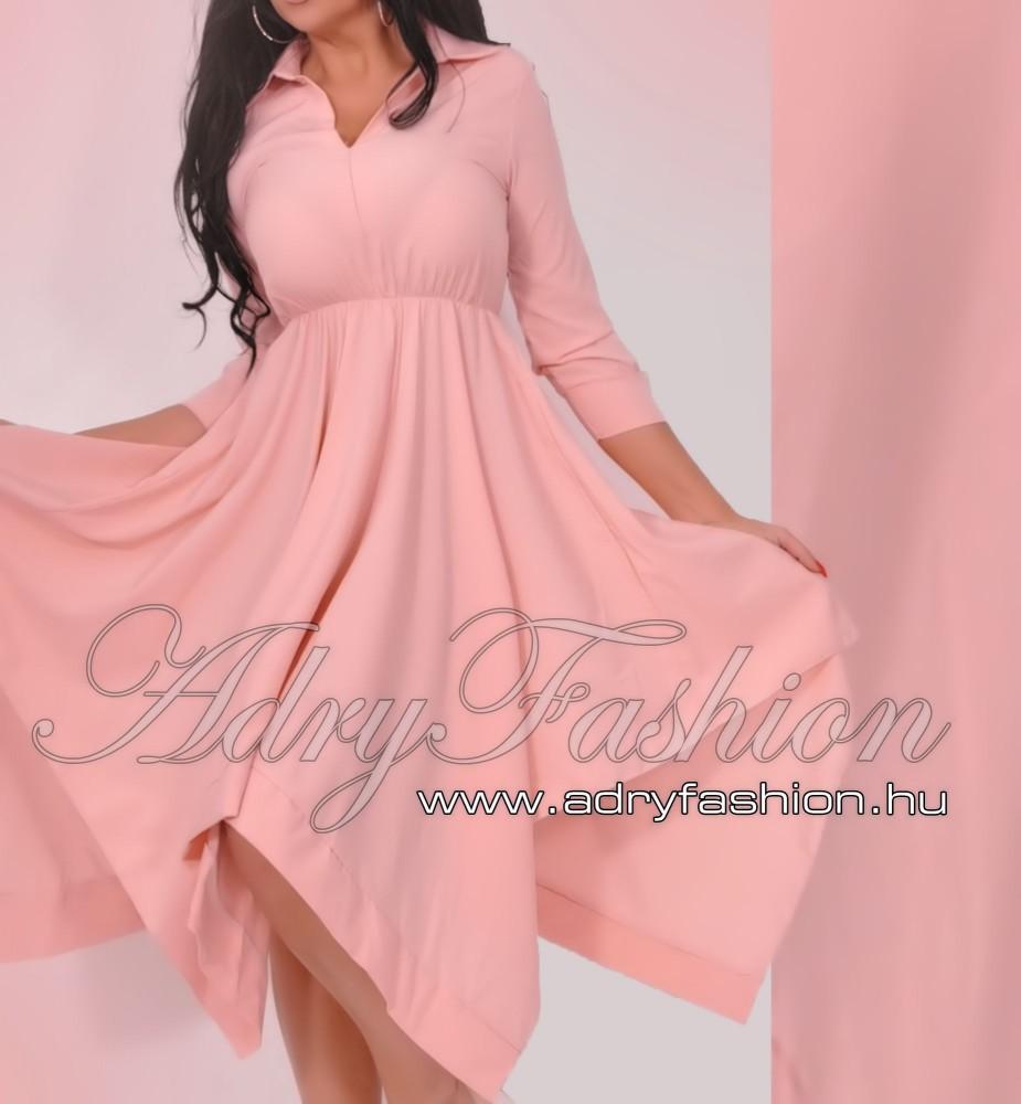 d1d514d23a Púder színű lenge gumis derekú női ing ruha - AdryFashion női ruha ...