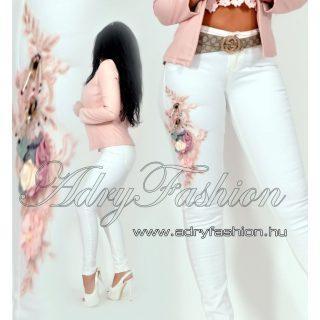 Fehér színű virág mintás női nadrág