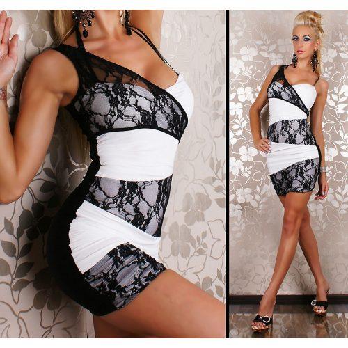 Fekete fehér csipkés alkalmi női ruha