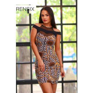 Rensix vállánál nyitott mintás női ruha